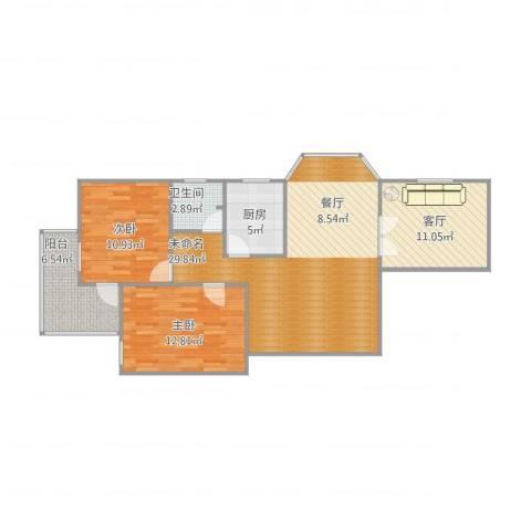 众和金融大厦2室1厅1卫1厨106.00㎡户型图
