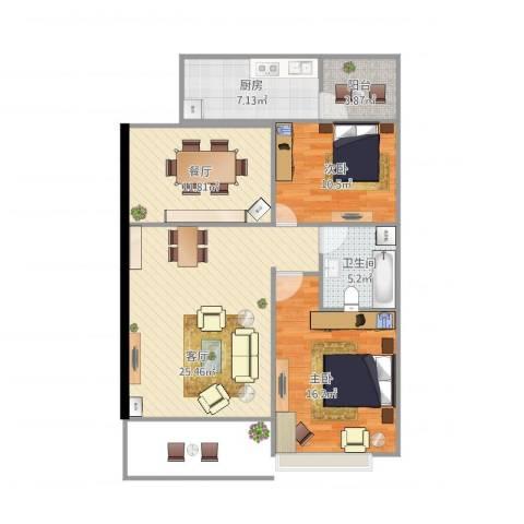 平湖恒大名都2室2厅1卫1厨121.00㎡户型图