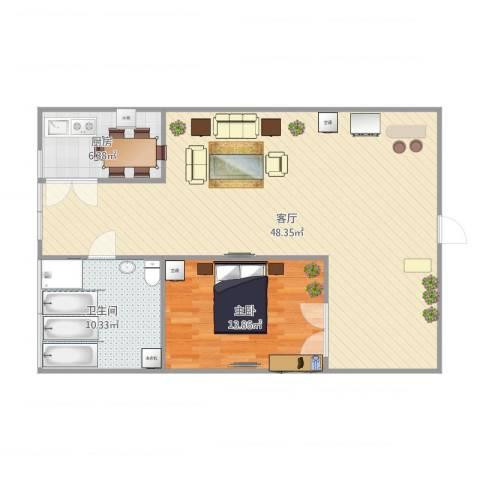 傻狍子之家1室1厅1卫1厨104.00㎡户型图