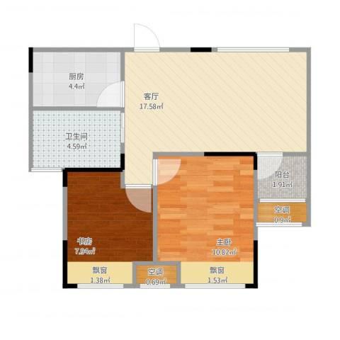 香颂小镇2室1厅1卫1厨67.00㎡户型图