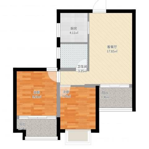 烟台蜜橙2室1厅1卫1厨80.00㎡户型图