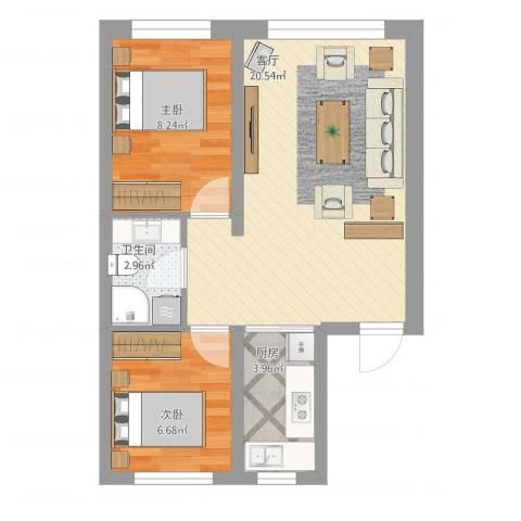 锦山秀城2室1厅1卫1厨62.00㎡户型图