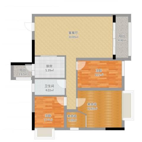 钜隆罗村风度花园2室1厅1卫1厨114.00㎡户型图