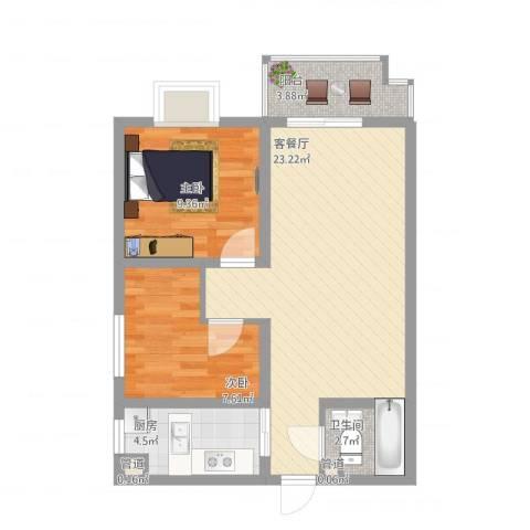 昌仁里小区2室1厅1卫1厨75.00㎡户型图
