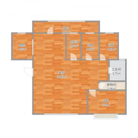 幸福E家四期3室1厅2卫1厨75.08㎡户型图