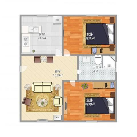 上炼三村2室1厅1卫1厨65.00㎡户型图