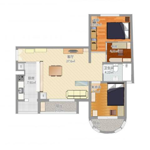 三环新城两居改三居2室1厅1卫1厨100.00㎡户型图