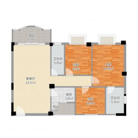 碧湖花园3室1厅2卫1厨122.00㎡户型图