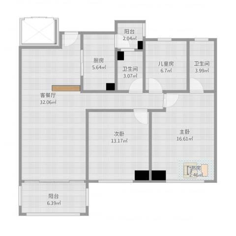 东城四季3室1厅2卫1厨125.00㎡户型图
