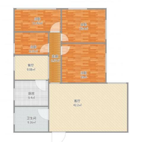 德兴大厦4室2厅1卫1厨140.00㎡户型图