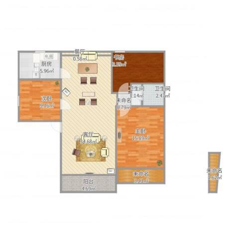 何山花园3室2厅2卫1厨122.00㎡户型图