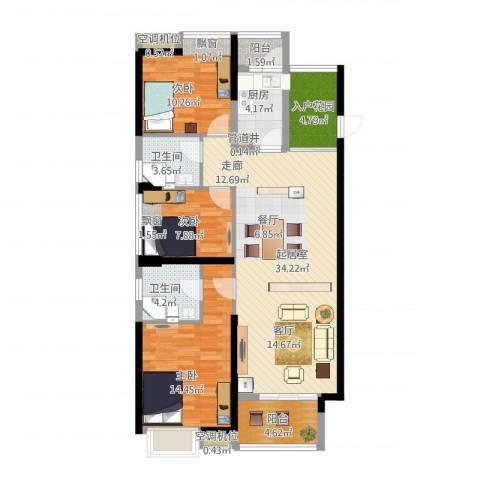 东莞厚街万达广场3室1厅4卫2厨131.00㎡户型图
