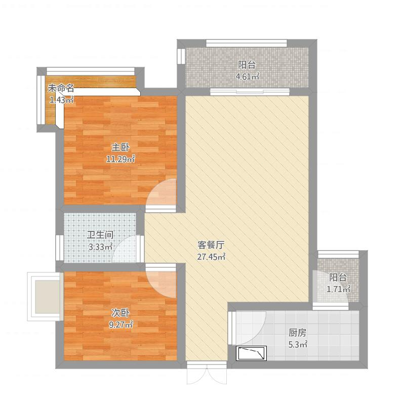华庭阳光17-1户型85方两室两厅一卫双阳台