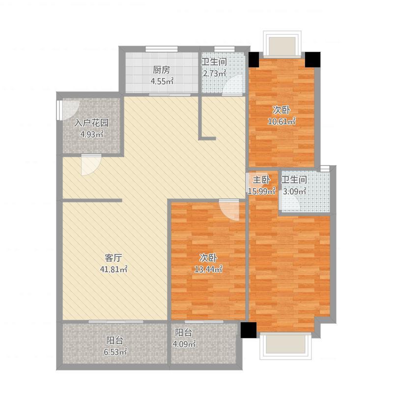 冠城美域B2户型三室三厅二阳台134㎡