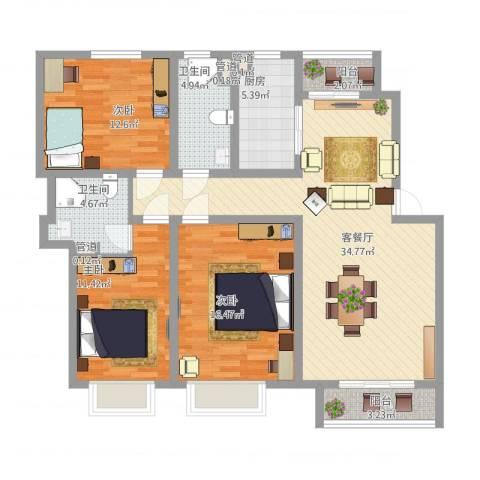 银海湾3室1厅2卫1厨139.00㎡户型图