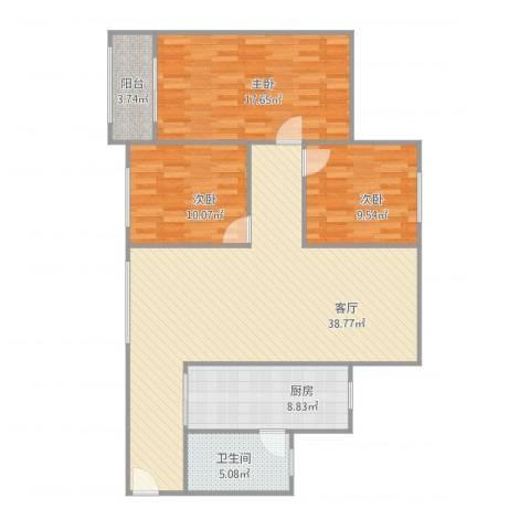 桃花园3室1厅1卫1厨126.00㎡户型图