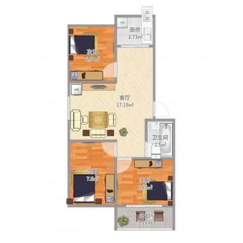 天长嘉园3室1厅1卫1厨51.02㎡户型图