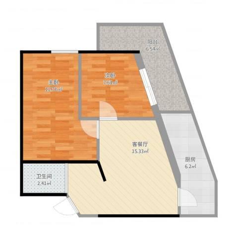 北兴教育园1号方案2室1厅1卫1厨71.00㎡户型图