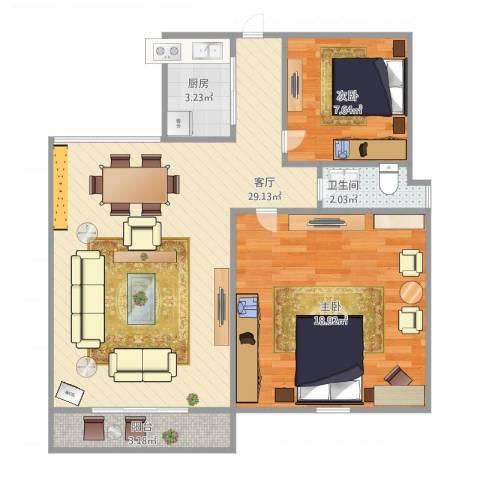 绿地望海新都(绿地领御)2室1厅1卫1厨69.06㎡户型图