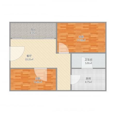 唐园2室1厅1卫1厨100.00㎡户型图