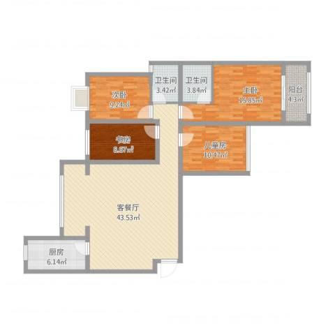 大唐世家2-1-1801袁卫星4室1厅2卫1厨151.00㎡户型图