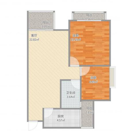 阳光棕榈园2室1厅1卫1厨69.00㎡户型图