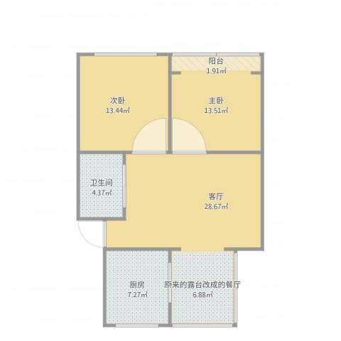 周东二村58#60272平2室1厅1卫1厨90.00㎡户型图
