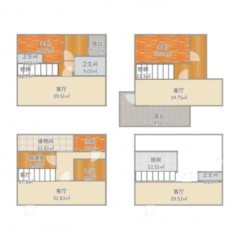 翠屏国际城别墅3室5厅3卫1厨444.00㎡户型图