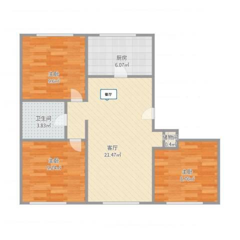 香炉礁3室1厅1卫1厨80.00㎡户型图