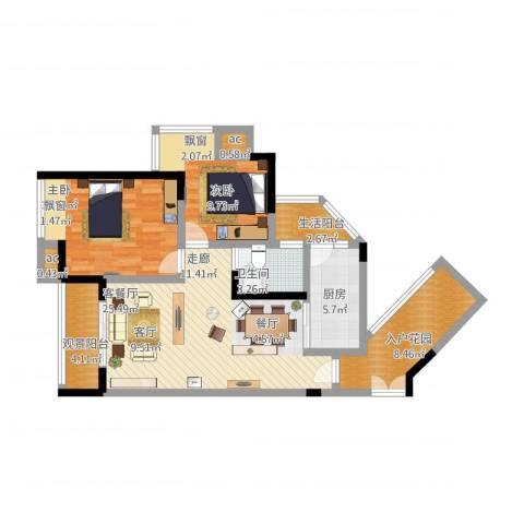 大众尚岭花园2室1厅1卫1厨110.00㎡户型图