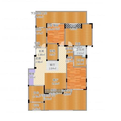 浦发御园3室1厅2卫1厨159.00㎡户型图