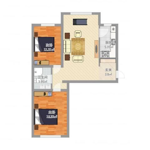 巨海城二区2室1厅1卫1厨95.00㎡户型图