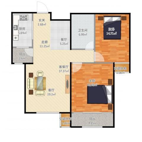 丽景蓝湾2室1厅1卫1厨124.00㎡户型图