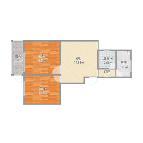 华阳佳园2室1厅1卫1厨58.00㎡户型图