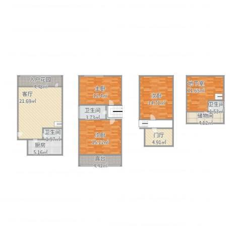 绿地蔷薇九里别墅3室1厅3卫1厨144.00㎡户型图