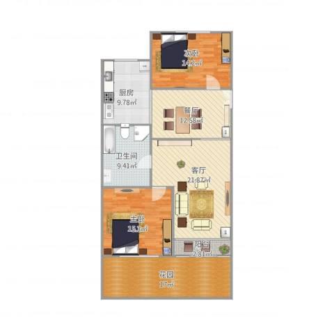 多伦多(民达大厦)2室2厅1卫1厨110.16㎡户型图