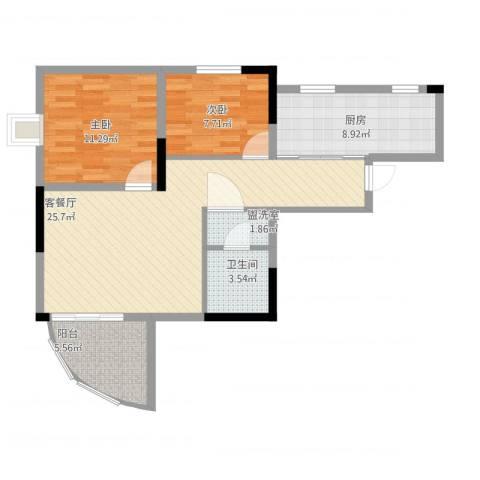 巴蜀怡苑2室2厅1卫1厨92.00㎡户型图