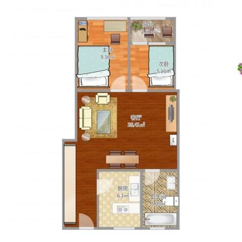 中港花园2室1厅1卫1厨74.00㎡户型图