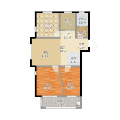 万泰香河佳园3室1厅2卫1厨135.00㎡户型图