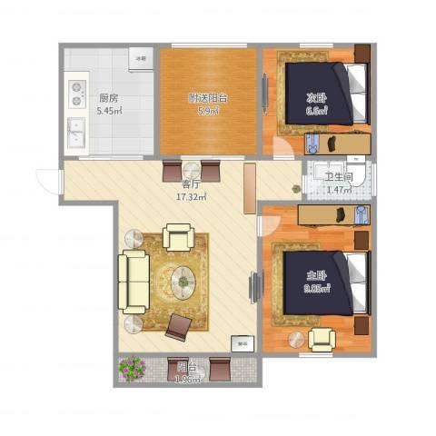 绿地望海新都(绿地领御)2室1厅1卫1厨52.35㎡户型图