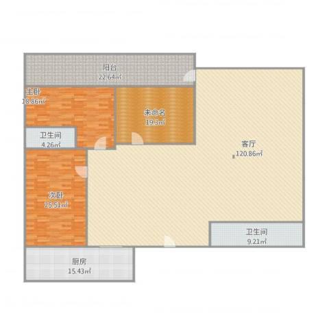 唐园东三街2室1厅2卫1厨309.00㎡户型图