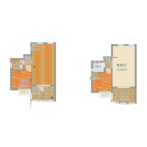 海韵假日休闲公寓2室2厅1卫2厨121.00㎡户型图