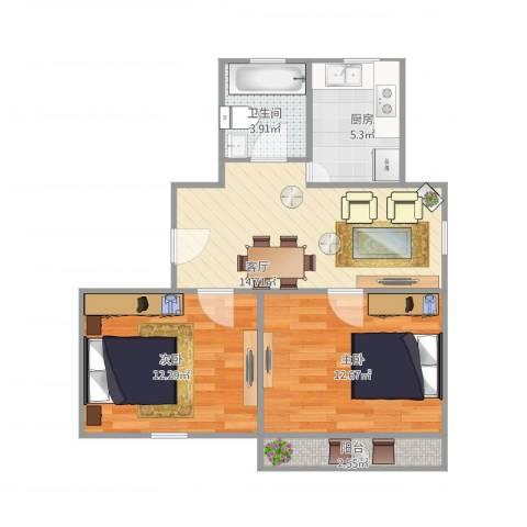 剑桥丽苑2室1厅1卫1厨70.00㎡户型图