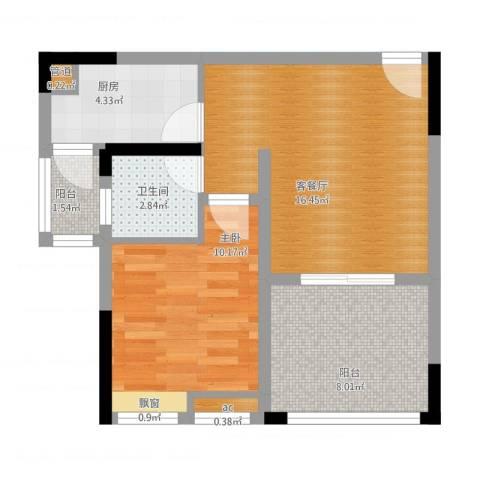 首创光和城1室1厅1卫1厨65.00㎡户型图