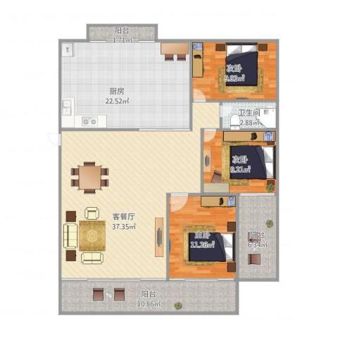 富湾新村3室1厅1卫1厨150.00㎡户型图