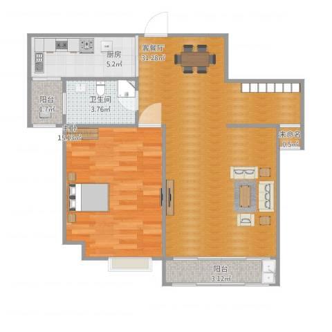华亿国际新城香榭丽舍1室1厅1卫1厨82.00㎡户型图