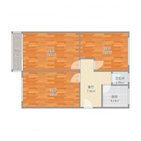 永乐西区3室1厅1卫1厨81.00㎡户型图