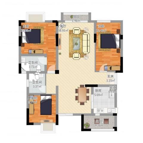 复地山与城3室1厅2卫1厨132.00㎡户型图