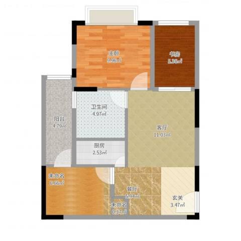 美每家美华星都2室1厅1卫1厨76.00㎡户型图
