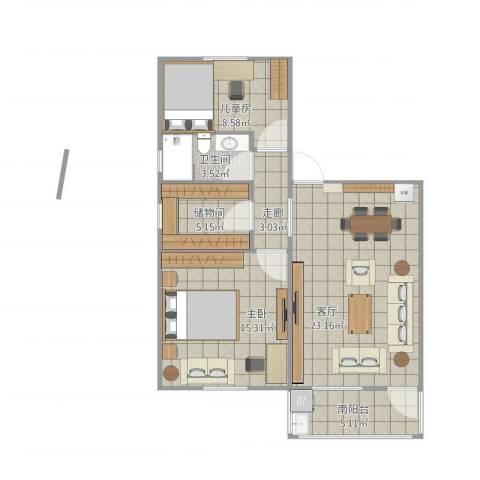 乐平-叶长江&陈燕婚房2室1厅2卫1厨86.00㎡户型图